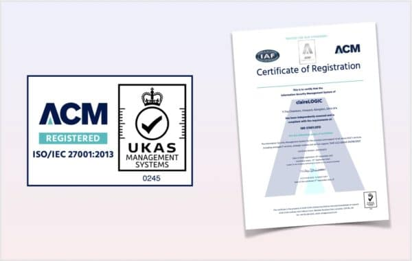claireLOGIC are now ISO 27001 accredited